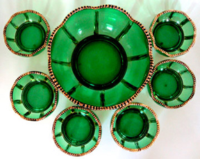 Berry US Glass Reverse 44 Sauce Bowl with Green and Gold Antique EAPG Athenia